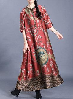 Plus Size Silk Print Shift Maxi Dress