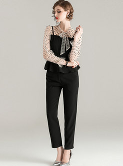 Bowknot Polka Dot Patchwork Pant Suits