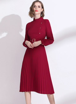 Wine Red Long Sleeve A Line Dress With Belt