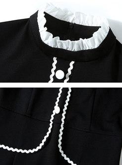 Color-blocked Slit Office Bodycon Dress