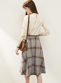 Long Sleeve Pullover Plaid Suit Dress