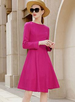 Solid Color High Waisted Skater Dress