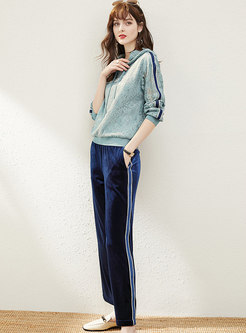 Hooded Lace Pullover Palazzo Pant Suits