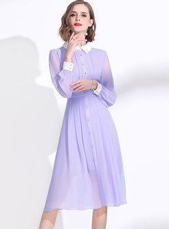 Light Purple Lapel Chiffon A Line Dress