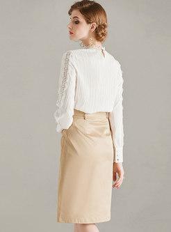 Mock Neck Pullover Openwork Slim Suit Dress