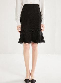 Black High Waisted Openwork Skirt