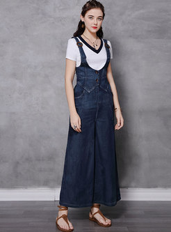 Plus Size Denim Wide Leg Jumpsuit