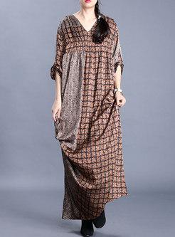 V-neck Plaid Patchwork Plus Size Maxi Dress