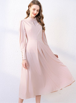 Solid Color Big Hem A Line Midi Dress