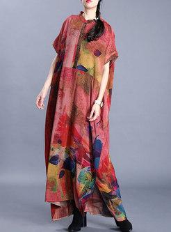 Short Sleeve Print Plus Size Maxi Dress