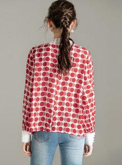 Mock Neck Long Sleeve Print Blouse