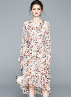 V-neck Long Sleeve Floral A Line Dress