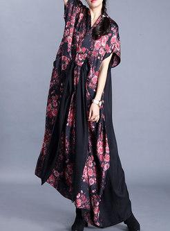 Plus Size V-neck Print Loose Maxi Dress