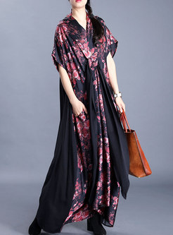 Plus Size V-neck Print Loose Maxi Dress