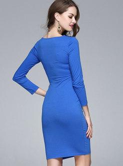 Color-blocked V-neck Mini Bodycon Dress