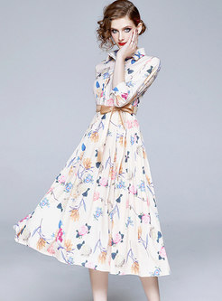 White Bowknot Print A Line Pleated Dress