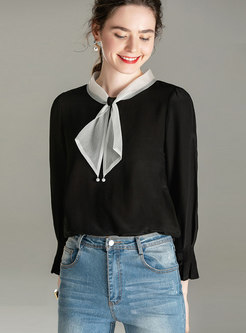 Color-blocked Pullover Loose Silk Blouse