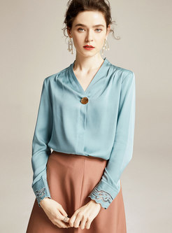 V-neck Pullover Long Sleeve Silk Blouse