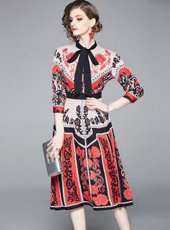 Mock Neck Print A Line Midi Dress
