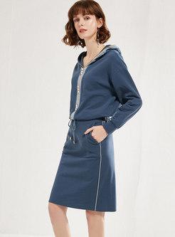 Hooded Long Sleeve Slim Suit Dress