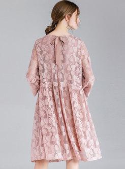 O-neck Lace Long Sleeve Shift Dress