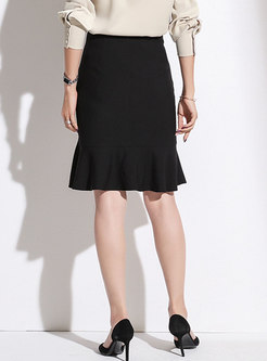 Black High Waisted Asymmetric Peplum Skirt