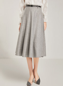 High Waisted Office A Line Big Hem Skirt