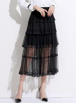Black Polka Dot Mesh Cake Skirt