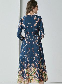 V-neck Long Sleeve Print A Line Dress
