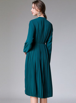 Long Sleeve Single-breasted Pleated Midi Dress