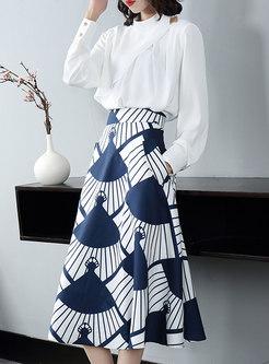 Pullover Asymmetric Print Midi Suit Dress