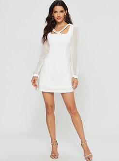 Solid Color V-neck Beading A Line Mini Dress