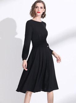 Black Long Sleeve Chiffon A Line Dress