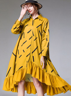 Long Sleeve Falbala Plus Size Print Shirt Dress
