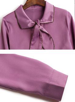 Bowknot Lapel Long Sleeve Blouse