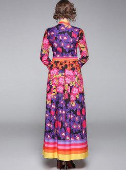 Long Sleeve Print Party Formal Dress