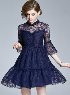 Flare Sleeve Openwork Lace Mini Dress
