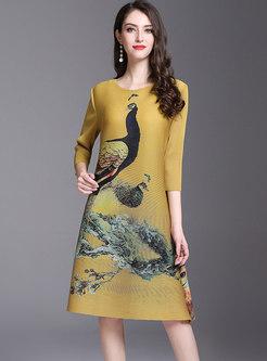 Ethnic Print Loose Shift Dress