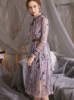 Long Sleeve Mesh Lace Patchwork Print Dress