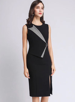 Crew Neck Sleeveless Sheath Office Dress