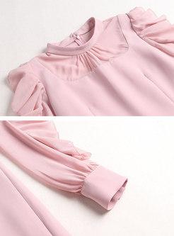 Pink Long Sleeve Falbala Homecoming Dress