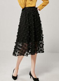Black High Waisted Chiffon A Line Skirt