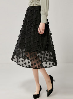 Black High Waisted Chiffon A Line Skirt