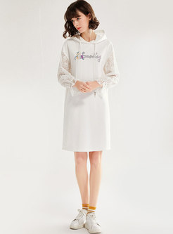 Letter Embroidered Lace Patchwork Shift Dress