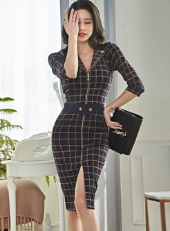 Plaid Front Zipper Bodycon Office Dress