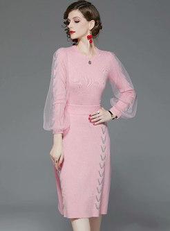 Mesh Lantern Sleeve Sweater Suit Dress