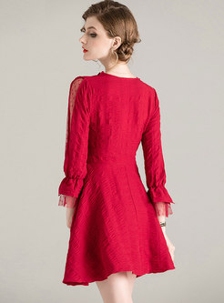 V-neck Long Sleeve Mini Homecoming Dress