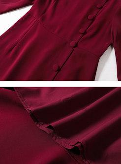 Crew Neck Long Sleeve Bodycon Peplum Dress