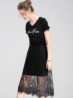 Brief Letter Print V-neck Casual T-shirt Dress
