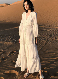 Bohemian V-neck Openwork Beach Maxi Dress